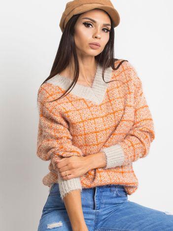 Pomarańczowy sweter Happiness
