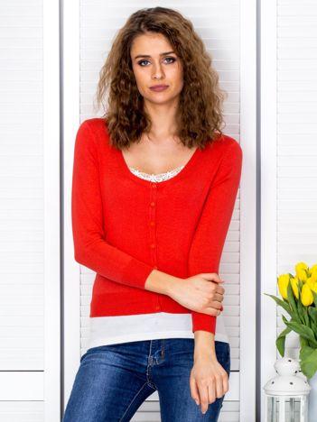 Pomarańczowy sweter damski z guzikami