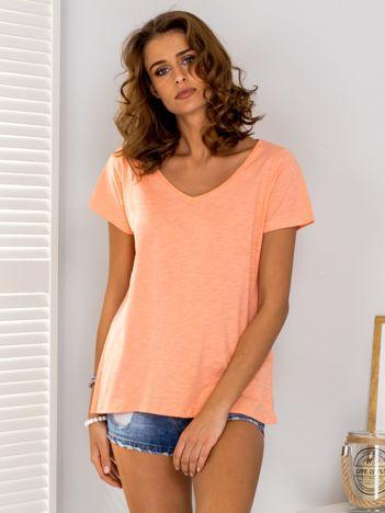 Pomarańczowy t-shirt V-neck