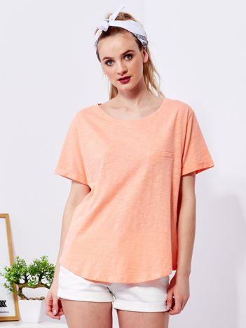 Pomarańczowy t-shirt basic z podwijanymi rękawami