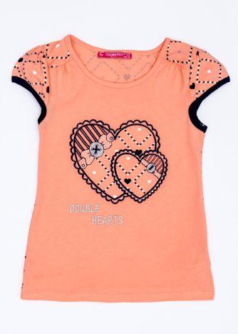 Pomarańczowy t-shirt dla dziewczynki z sercami