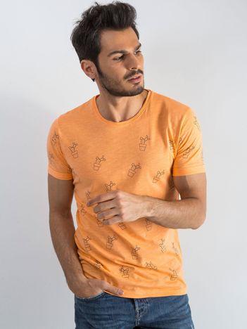 Pomarańczowy t-shirt męski w kaktusy