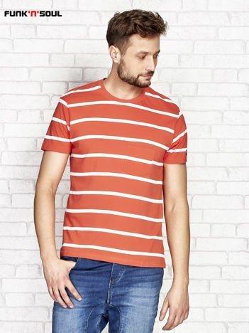 Pomarańczowy t-shirt męski w paski FUNK N SOUL
