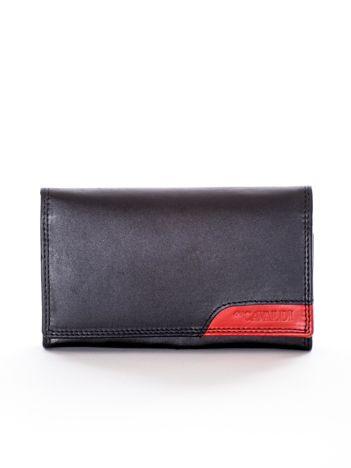 Portfel czarny z czerwoną wstawką