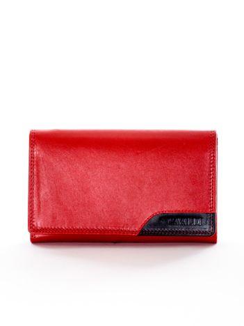 Portfel czerwony z czarną wstawką