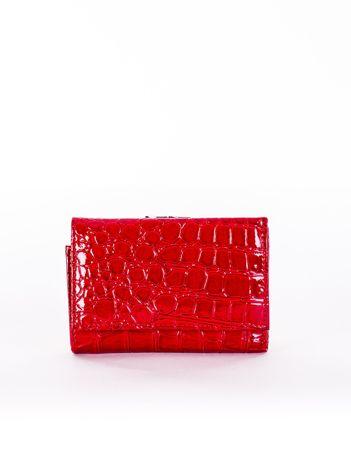 Portfel damski czerwony z motywem crocodile skin