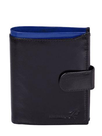 Portfel męski skórzany pionowy czarny z niebieską wstawką