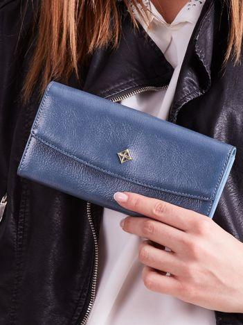 Poziomy portfel damski niebieski