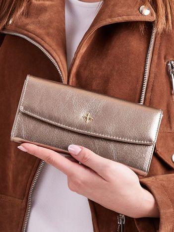 Poziomy portfel damski złoty