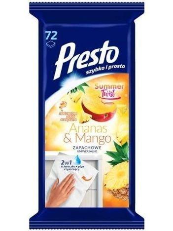 Presto Uniwersalne ściereczki czyszczące + płyn 2 w 1 Ananas & Mango  1 op.- 72 szt