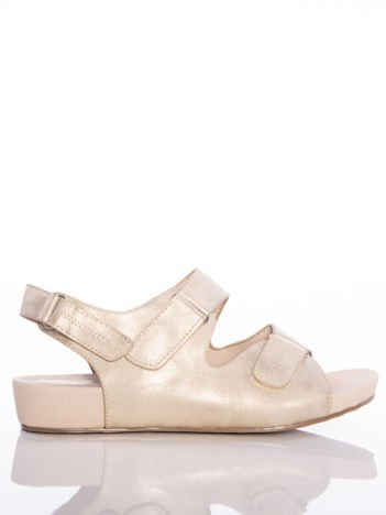 Profilowane złote sandały Sabatina z regulowanymi paskami