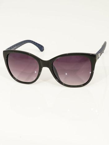 Przeciwsłoneczne okulary damskie z granatowymi zausznikami