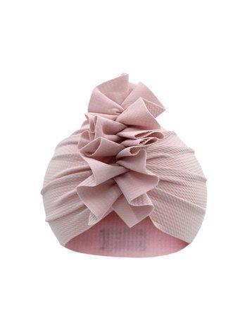 Pudroworóżowa czapka turban dla dziewczynki