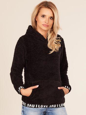 Puszysta bluza damska z kapturem czarna