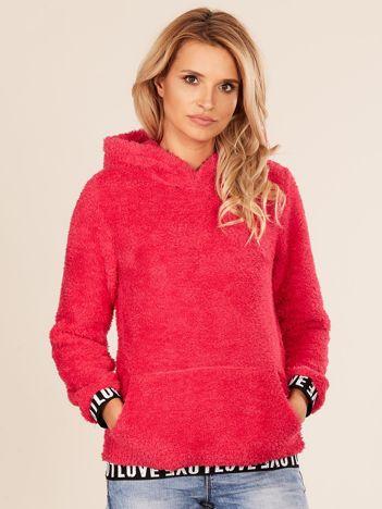 Puszysta bluza damska z kapturem różowa