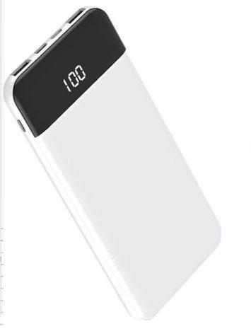Q-touch QPB-06 Nowoczesny Powerbank o mocy 10000 mAh z ekranem wyświetlania danych zasilania,szybkie ładownie 2A dwa USB Kolor biały