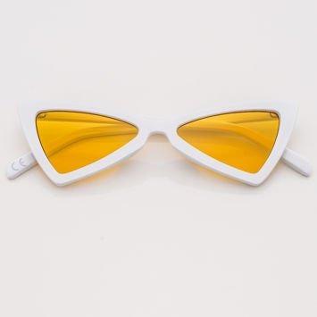 RETRO CAT EYE Białe damskie okulary słoneczne KOCIE OCZY