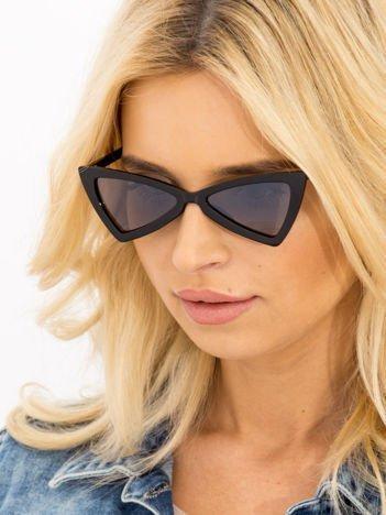 RETRO CAT EYE Czarne damskie okulary słoneczne KOCIE OCZY