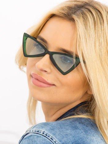 RETRO CAT EYE Zielone damskie okulary słoneczne KOCIE OCZY