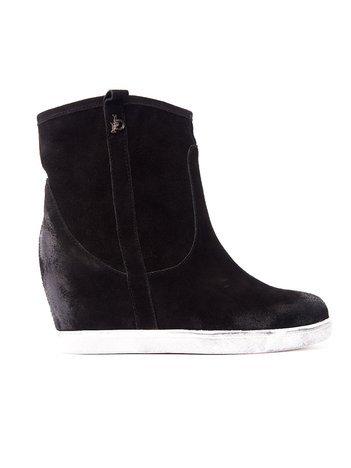 ROCCOBAROCCO Czarne cieniowane botki chamois leather na koturnie
