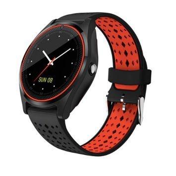 RONEBERG Smartwatch RV9 Współpracuje z Android oraz iOS Powiadomienia Połączenia Krokomierz Monitor snu Czarno-czerwony