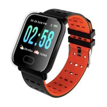 RONEBERG Smartwatch Smartband RA6 Pulsometr Ciśnieniomierz Oksymetr Powiadomienia Długi czas działania pomarańczowo-czarny