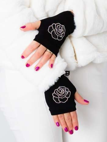 ROSE Czarne rękawiczki mitenki z aplikacją