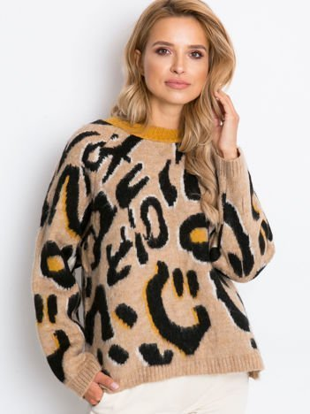 RUE PARIS Beżowo-czarny sweter Madrid