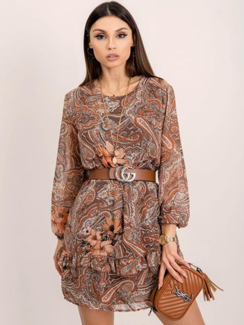 RUE PARIS Brązowo-beżowa sukienka Whitney