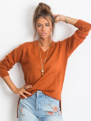 RUE PARIS Ceglasty sweter Believe