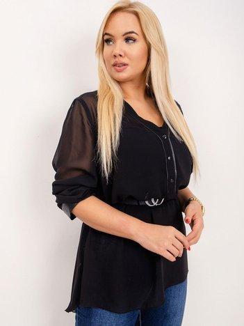 RUE PARIS Czarna bluzka plus size Mariah