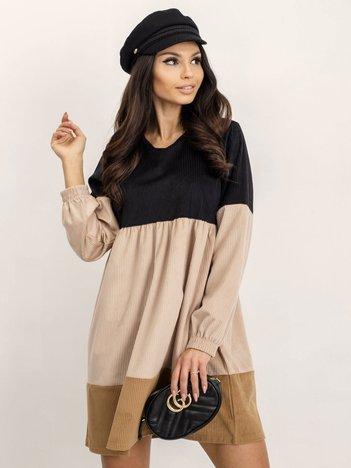 RUE PARIS Czarno-beżowa sukienka Selene