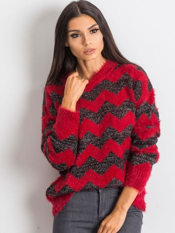 RUE PARIS Czerwono-czarny sweter Geometric