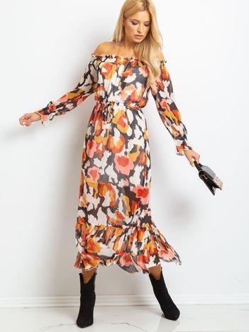 RUE PARIS Ecru-czarna sukienka Promise