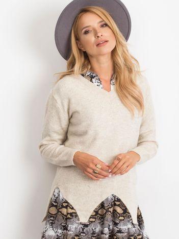 RUE PARIS Jasnobeżowy sweter Believe