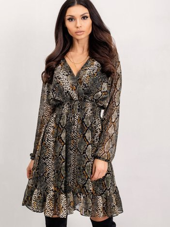 RUE PARIS Khaki-beżowa sukienka Monique