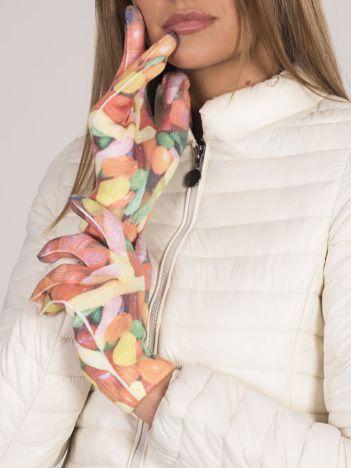 Rękawiczki damskie z kolorowymi printami