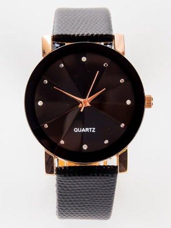 Retro czarny zegarek damski z cyrkoniami czerwone złoto