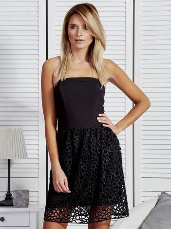 Rozkloszowana sukienka gorsetowa z koronką czarna