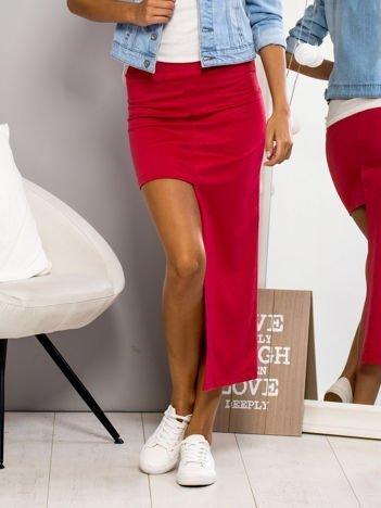 Różowa asymetryczna spódnica