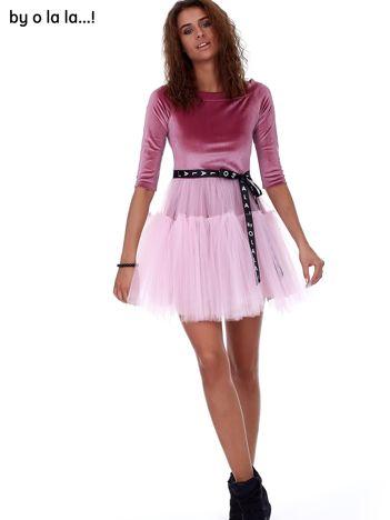 Różowa atłasowa sukienka z tiulową spódnicą BY O LA LA