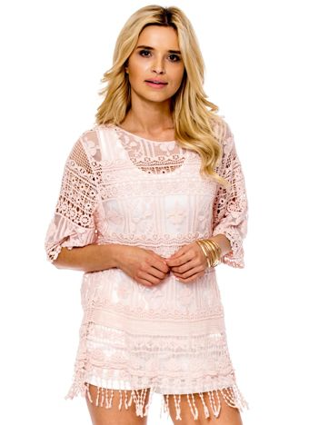 Różowa ażurowa bluzka