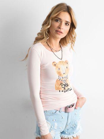 Różowa bawełniana bluzka z nadrukiem