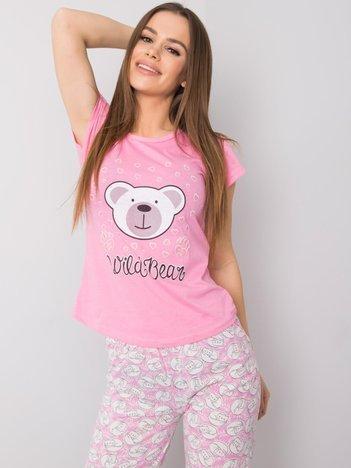 Różowa bawełniana piżama z nadrukiem