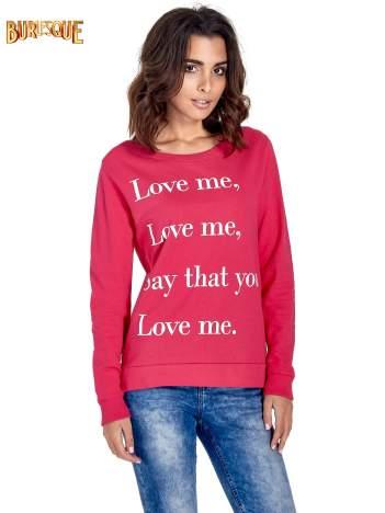 Różowa bluza z napisem LOVE ME i dłuższym tyłem