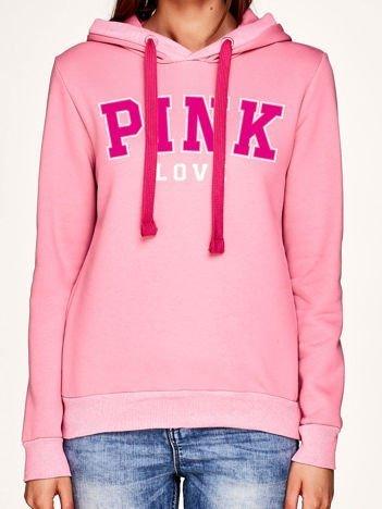 Różowa bluza z napisem PINK LOVE i troczkami