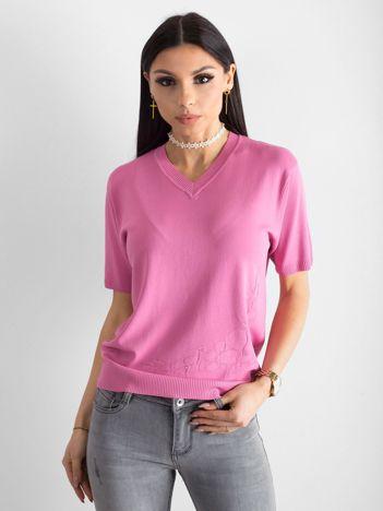 Różowa bluzka V-neck