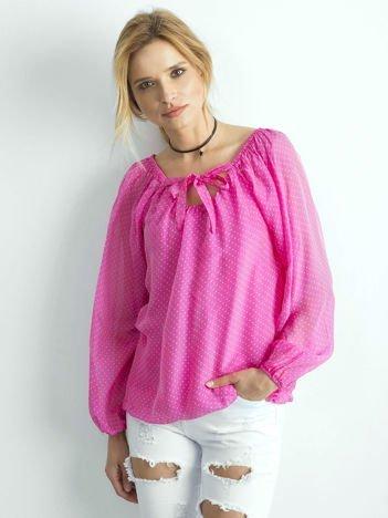 Różowa bluzka damska w groszki