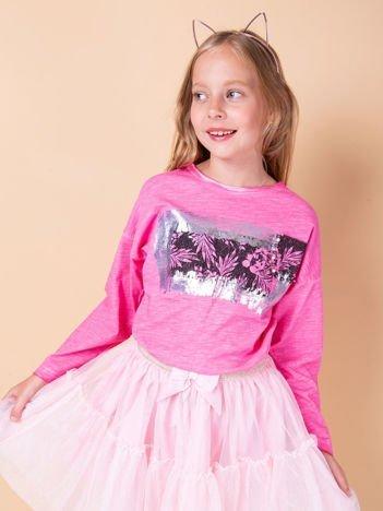 Różowa bluzka dla dziewczynki z nadrukiem i aplikacją
