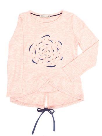 Różowa bluzka dla dziewczynki z wypukłym kwiatem